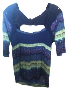 Free People Crochet Floral Ethnic T Shirt navy and multi