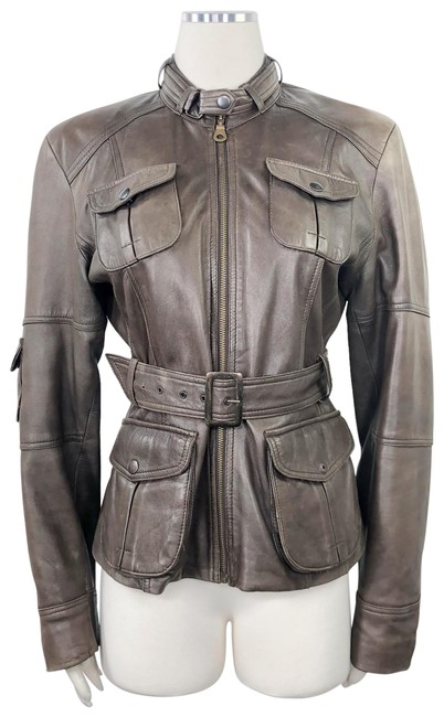 Item - Brown Belted Aviator Style Cargo Military Jacket Size 14 (L)