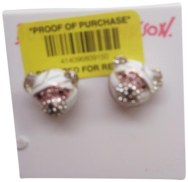 Item - White New and Silver Bear Earrings