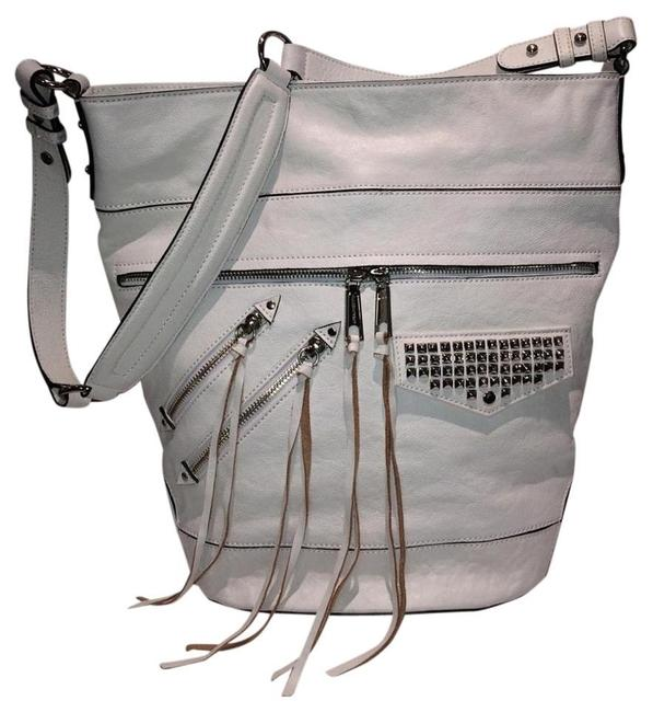 Item - Studded Antique White Leather Hobo Bag