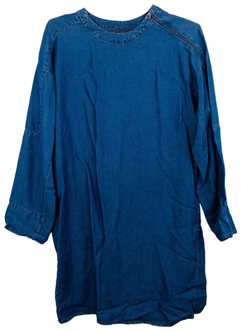 Item - Blue 128 Mid-length Short Casual Dress Size 6 (S)