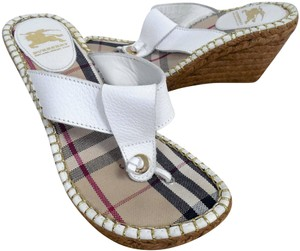 Burberry Espadrille Thong Leather White Wedges