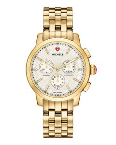 Michele Michele Uptown Gold Tone Diamond Dial Watch with Gold Bracelet