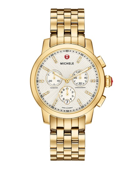 Michele Michele Uptown Gold Tone Diamond Dial Watch with Gold Bracelet Image 2