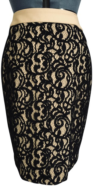 Item - Tan Black Pencil with Lace Overlay Skirt Size 8 (M, 29, 30)