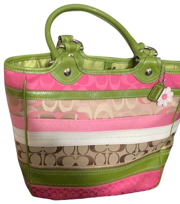 Coach Sv/Multicolor Pink Green Brown Gold Monogram Canvas Tote Coach Sv/Multicolor Pink Green Brown Gold Monogram Canvas Tote Image 1