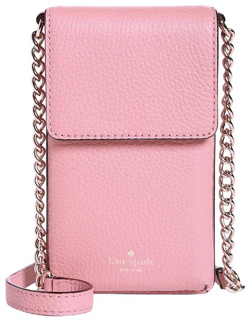 Item - New York Larchmont Avenue North South Pebbled Pink with Tag Leather Cross Body Bag