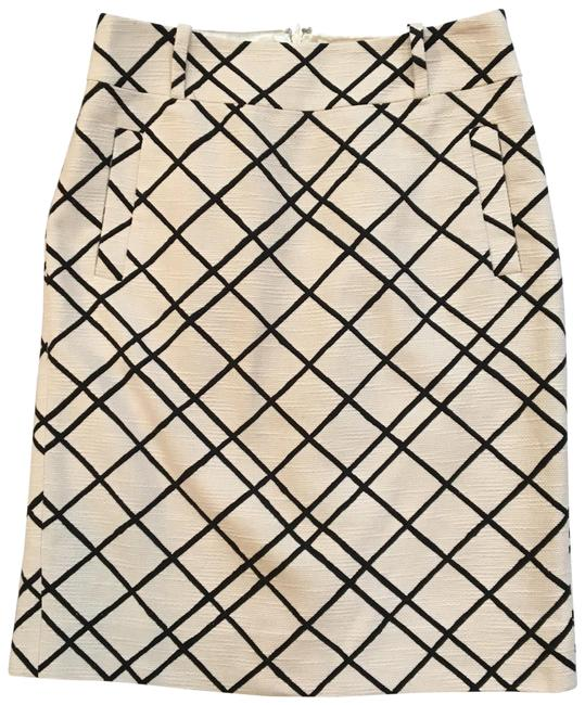 Item - Cream Black Textured Windowpane Pencil Skirt Size 6 (S, 28)
