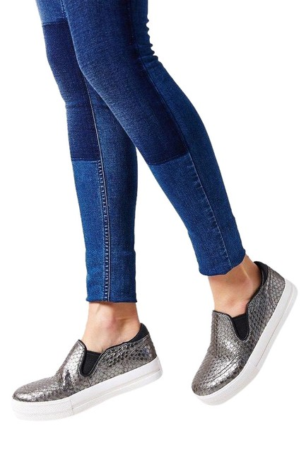 Item - Silver Jungle Slip On Leather Sneakers Size US 10 Regular (M, B)