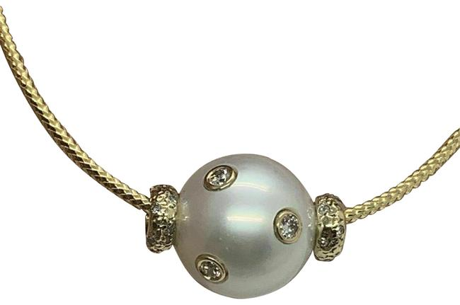 Item - White Diamond South Sea Pearl 13.80 Mm 14k Gold Certified 920457 Necklace