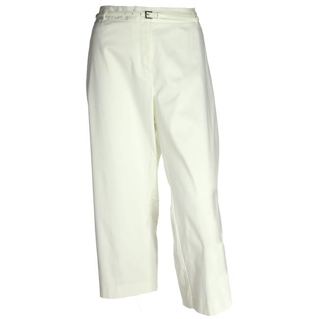 Item - White 24w Tummy Control Classic Fit Belted Ankle Pants Size 24 (Plus 2x)