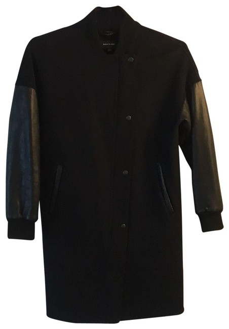 Item - Navy Wool with Black Leather Trim Sleeves Long Bomber Coat Size 4 (S)