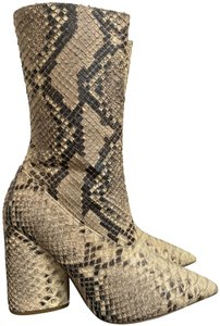 YEEZY Leather Python Pointed Toe Chunky Heel Beige Boots