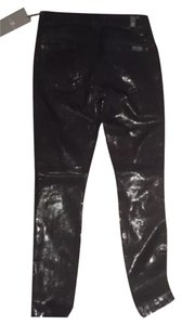 7 For All Mankind Wax Snakeskin Skinny Pants Black