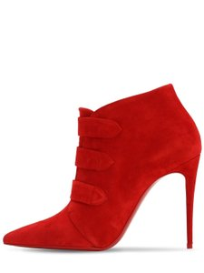 Christian Louboutin Stilleto Velcro Suede Red Boots