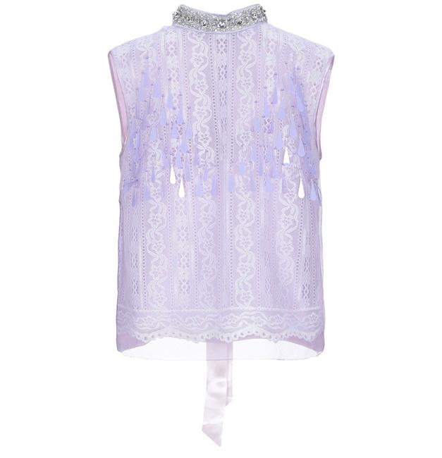 Item - Light Purple Couture French Lace and Hand Beaded Blouse Size 8 (M)