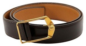 Hermes Hermes Brown Box Leather Gold Buckle Belt Vintage DoPEEK!