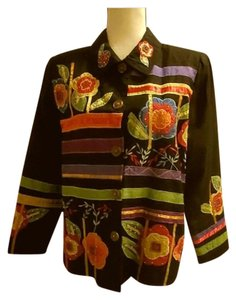 Indigo Moon Embroidered Floral Buttons Stylish Black Jacket
