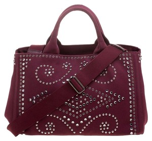 Prada Canvas Studded Tote in Burgundy
