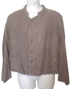 CP Shades Linen Longsleve Shirt Jacket Button Down Shirt Brown