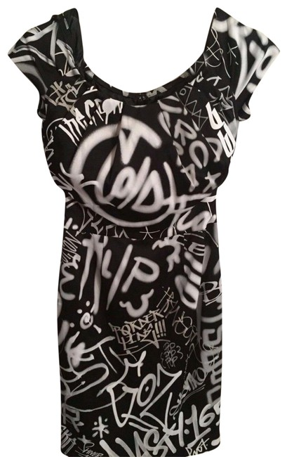 Item - Graffiti Couture X Jeremy Scott Black/White Puffy Collar Rayon Short Cocktail Dress Size 6 (S)