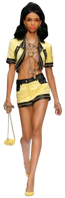 Item - Yellow 295 Couture Jeremy Scott Barbie Quilted Cropped Biker Jacket Size 0 (XS)