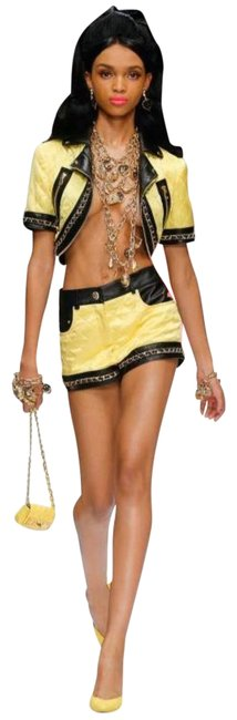 Item - Yellow Couture Jeremy Scott Barbie Quilted Cropped Biker Jacket Size 8 (M)
