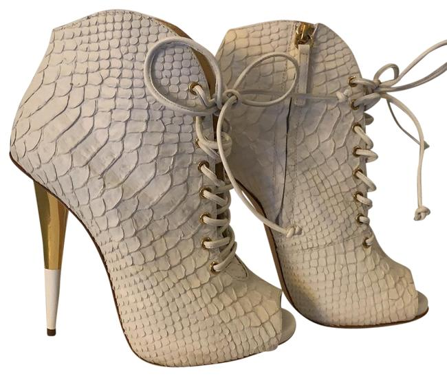 Item - White Lace Up Python Boots/Booties Size EU 35 (Approx. US 5) Regular (M, B)