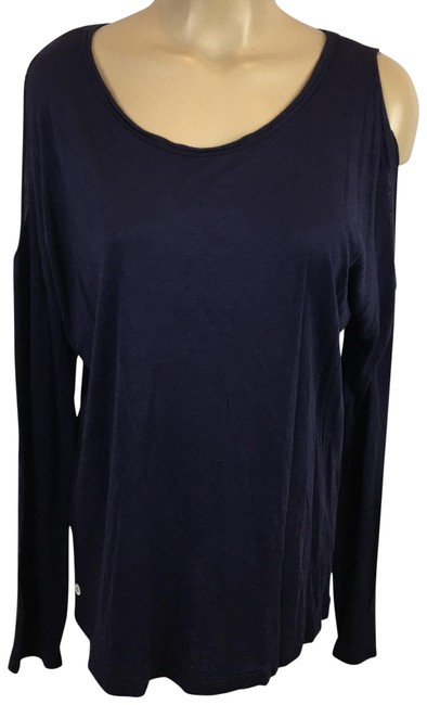Item - Purple Cold Shoulder Long Sleeve Tee Shirt Size OS (one size)