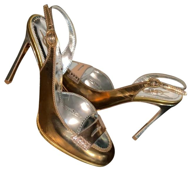 Item - Silver Copper Gold Tribute Ysl Yves Rose Heels Slingback Sandal Formal Shoes Size EU 37.5 (Approx. US 7.5) Regular (M, B)