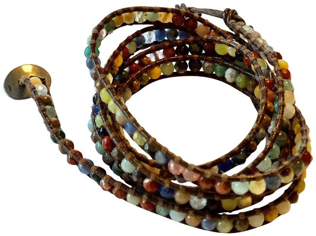 Item - Brown Leather with Multi Color Wrap Bracelet