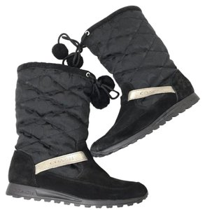 Coach Suede Pom Pom Signature Winter Black Boots