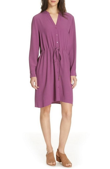 Item - Purple Currant Drawstring Button Front Mid-length Short Casual Dress Size 14 (L)