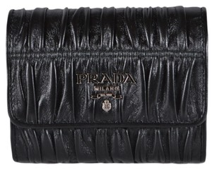 Prada New Prada 1MH840 Pattina Ruched Leather Trifold Wallet W/Coin Pocket