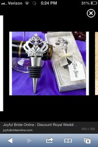 White Diamond and Silver Crown Bottle Topper Favors with Tags Box