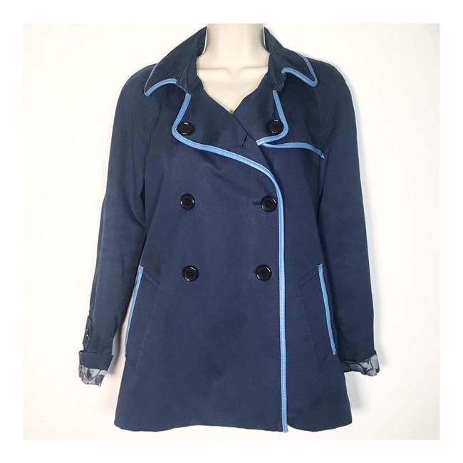Item - Blue Double Breasted Leather Trim Coat Size 6 (S)