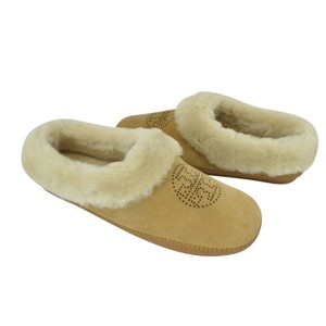 Tory Burch Coley Slippers Suede 9 Royal Tan Natural Sandals