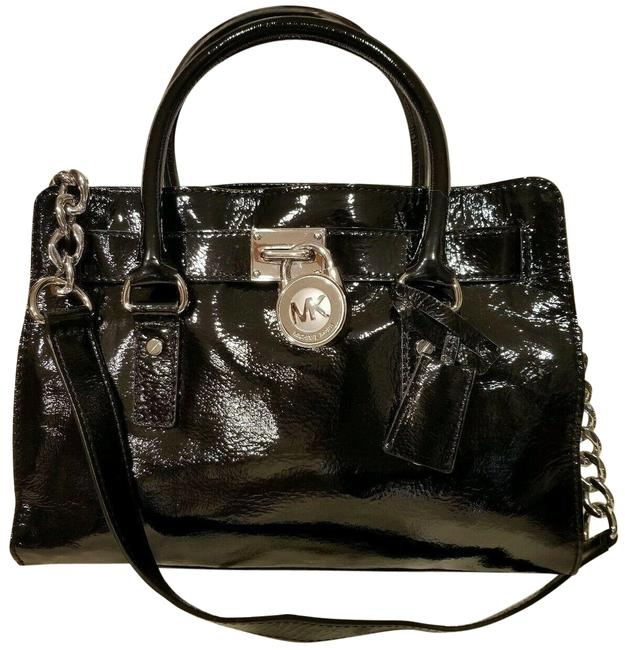 Item - Hamilton Medium Lock and Key (New with Tags) Black/Silver Hardware Patent Leather Satchel