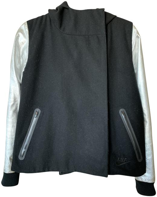 Item - Black Silver Hooded Wool Blend Bomber Jacket Activewear Size Petite 4 (S)