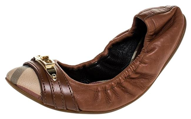 Item - Tan Nova Check Pvc & Leather Drayton Twistlock Scrunch Ballerina Flats Size EU 35 (Approx. US 5) Regular (M, B)