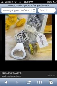 White and Silver Crown Bottle Opener Favor