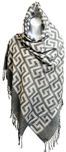 Cashmere Pashmina Group Pashmina and Silk Shawl Charcoal and White