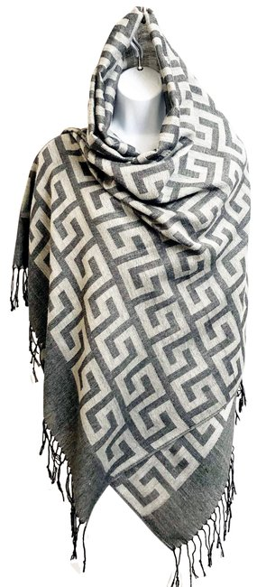 Item - Gray and White Silk Shawl Charcoal Scarf/Wrap