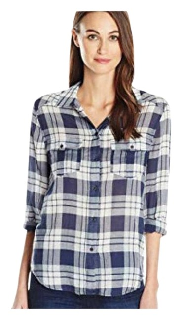 Item - Women's Mya In Peacoat Blue Haze Shirts Small Button-down Top Size 4 (S)