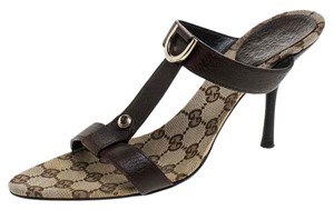 Gucci Leather Open Toe Brown Sandals