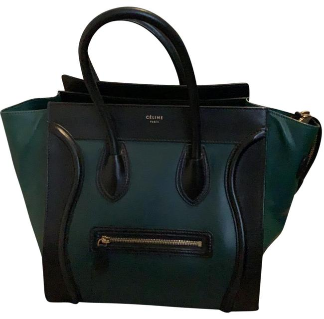Item - Hunter Green and Black Lambskin Leather Tote