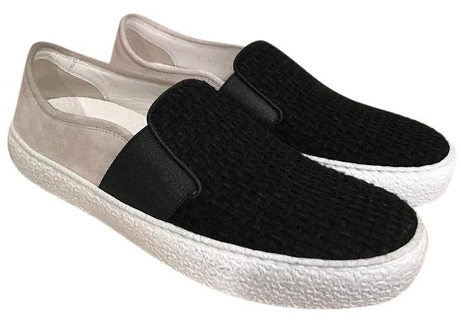 Item - Black 16b White Tweed Leather Suede Cc Slip On Trainer Flats Sneakers Size EU 37 (Approx. US 7) Regular (M, B)
