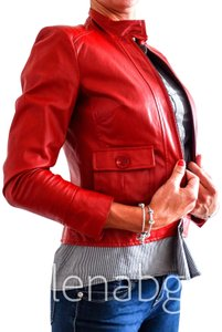 Terry Lewis Classic Luxuries Retro Vintage Moto Red Leather Jacket