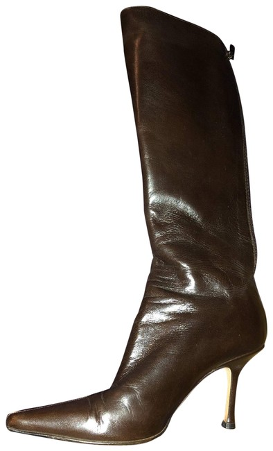 Item - Brown Griffe Pointed Toe Walnut Leather Boots/Booties Size EU 37.5 (Approx. US 7.5) Regular (M, B)