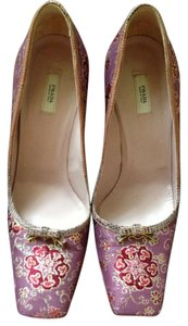 Prada Silk Floral Tapestry Snakeskin Lambskin Made In Italy Purple, Red & Gold Pumps